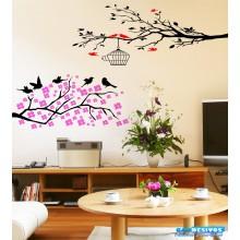 Adesivo Decorativo Combo Arvores Pássaros e Flores