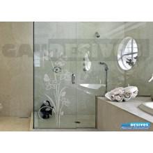 Adesivo Decorativo para Vidro/Box Floral Jateado