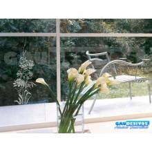 Adesivo Decorativo para Vidro/Box Rosa e Floral Jateado
