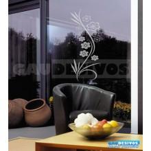 Adesivo Decorativo para Vidro/Box Floral Flores Jateado