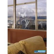 Adesivo Decorativo para Vidro/Box Florais Jateado