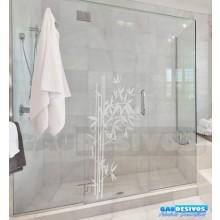 Adesivo Decorativo para Vidro/Box Folhas Bambu Jateado