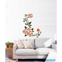 Adesivo Decorativo de Parede Floral Flores e Ramas