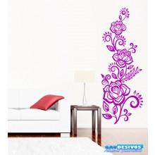 Adesivo Decorativo de Parede Floral Flores, Galhos e Folhas