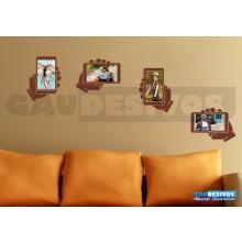 Adesivo Porta - Retrato Kit com 4 Mão com Moldura (Para Fotos Até 20x12)