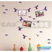 Adesivo Porta RetratoKit com 3 Pássaros Segurando Moldura (Para Fotos até 13x18)