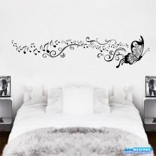 Adesivo Decorativo de Parede Borboleta Nota Musical