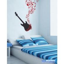 Adesivo De Parede Decorativo Musical Violão/Guitarra e Notas Musicais