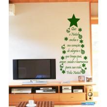 Adesivo de Parede Decorativo de Natal Árvore de Palavras