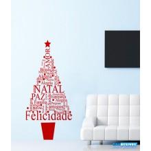 Adesivo Decorativo de Natal Árvore de Palavras
