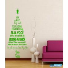 Adesivo Decorativo de Parede Frase no Formato de Arvore de Natal