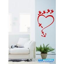 Adesivo Decorativo de Parede Religioso Coração e Pombos