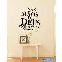 Adesivo Decorativo de Parede Religião Frase Nas Mãos de Deus
