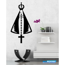 Adesivo Decorativo de Parede Religião Nossa Senhora Aparecida e Terço