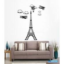 Adesivo Decorativo de Parede Decoração Torre Eiffel Balões e Aviões