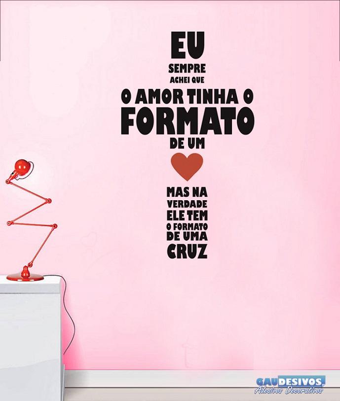 Muitas vezes Adesivo Decorativo Frases Amor em Cruz BS14